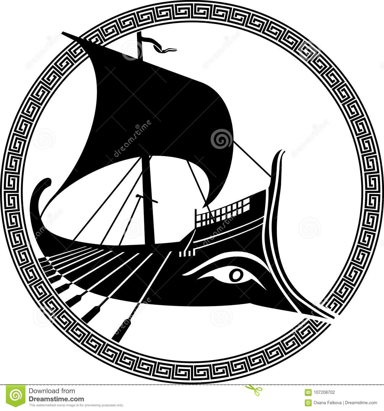 hight resolution of vector illustration of a logo design of an ancient greek ship