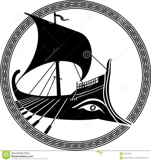 small resolution of vector illustration of a logo design of an ancient greek ship