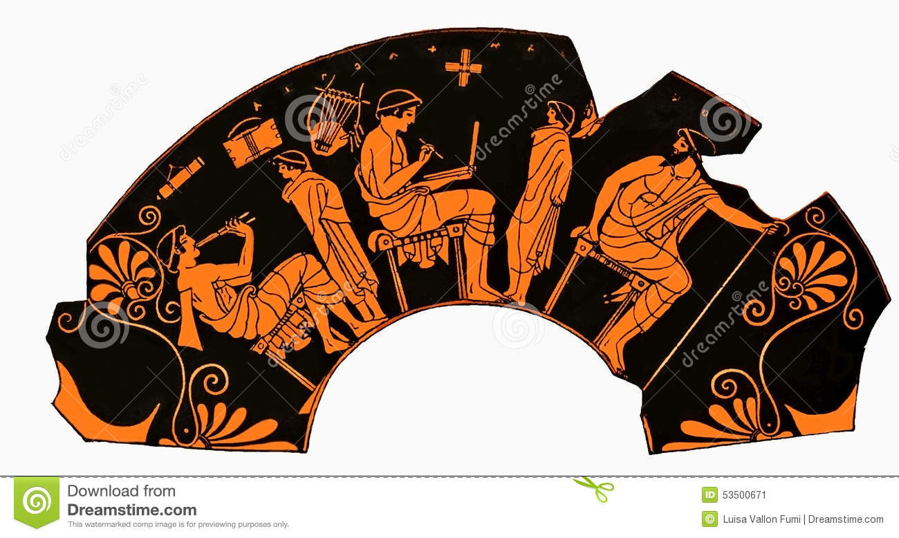 Ancient Greek Vase School Lesson Writing And Music Stock