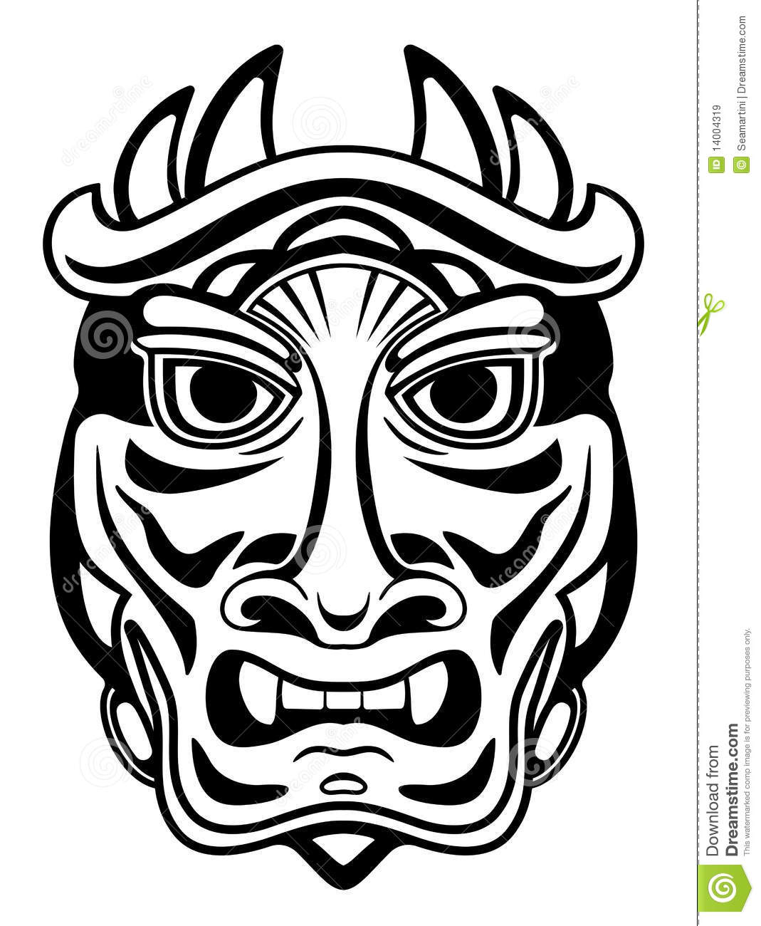 Ancient mask stock vector. Image of ceremony, carving