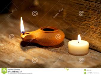 Ancient Middle Eastern Oil Lamp Made In Clay On Wood Table Stock Photo 43794082 Megapixl
