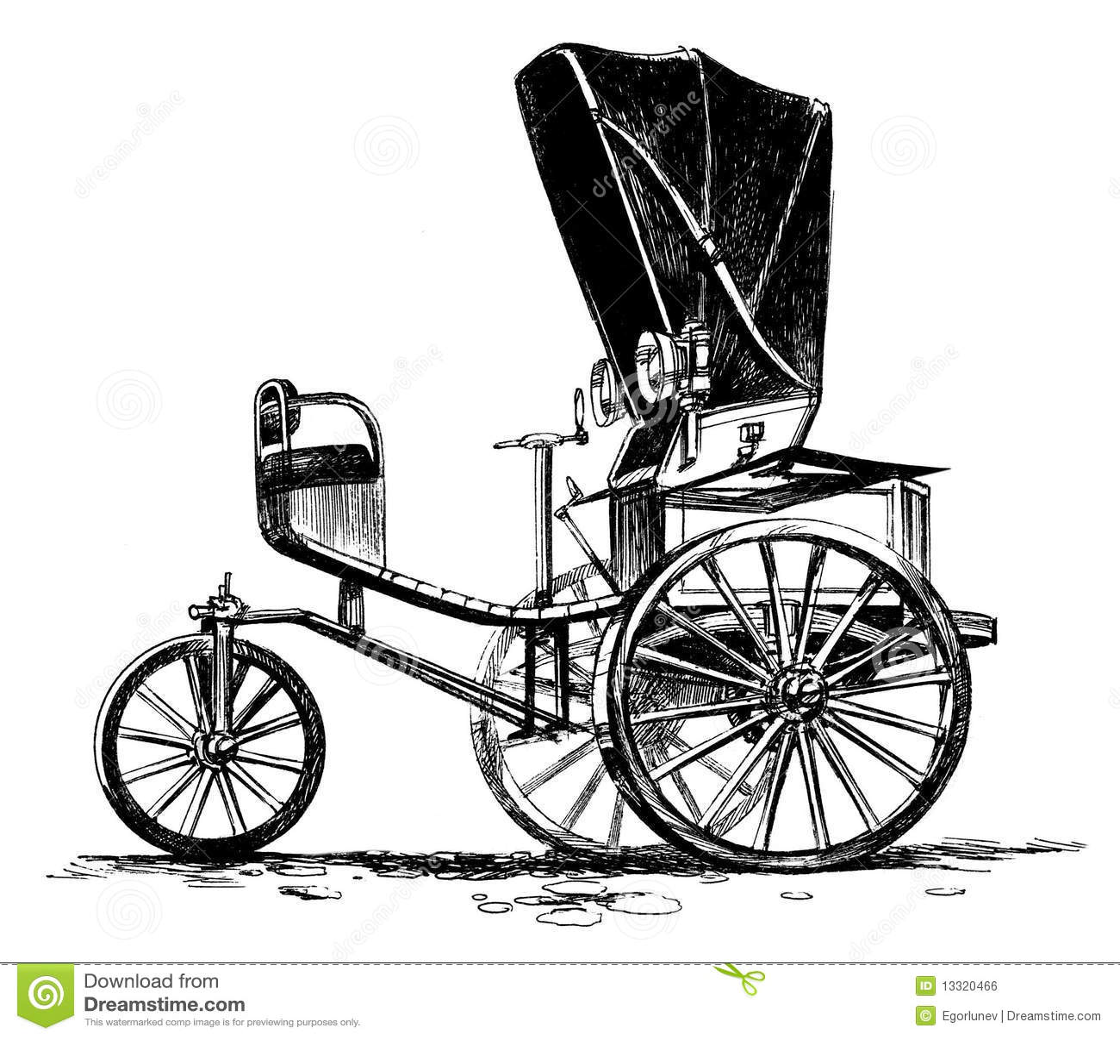 Ancient Three Wheeled Car Stock Illustration Illustration