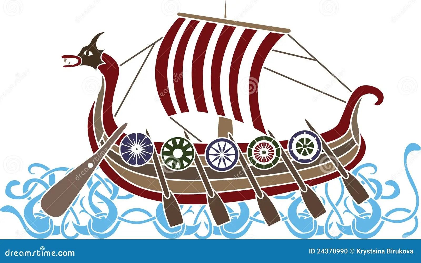 Ancient Vikings Ship Stock Photo