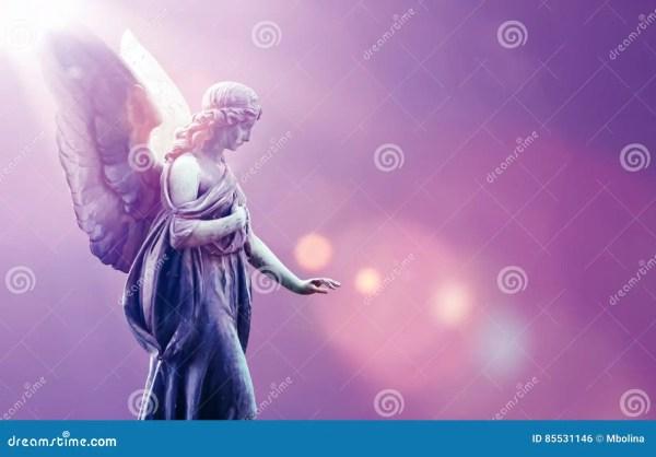 Angel Heaven in Sky Over Purple Background