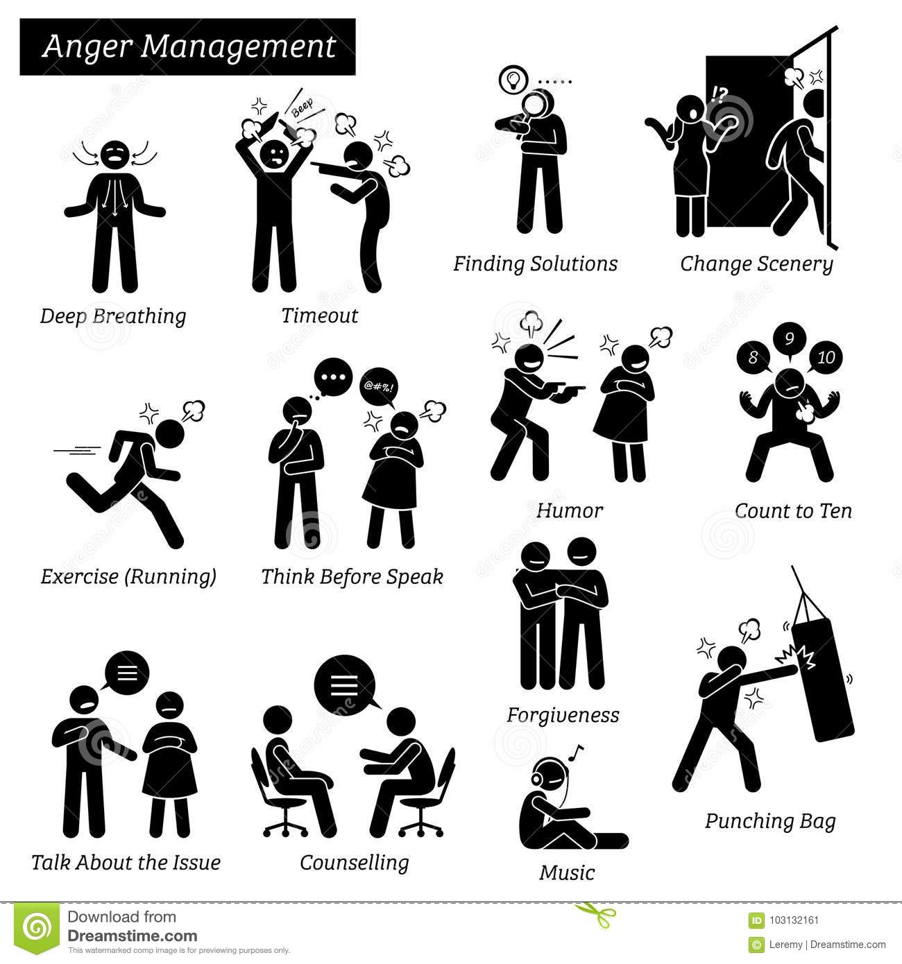 Anger Management Stick Figure Pictogram Icons Stock