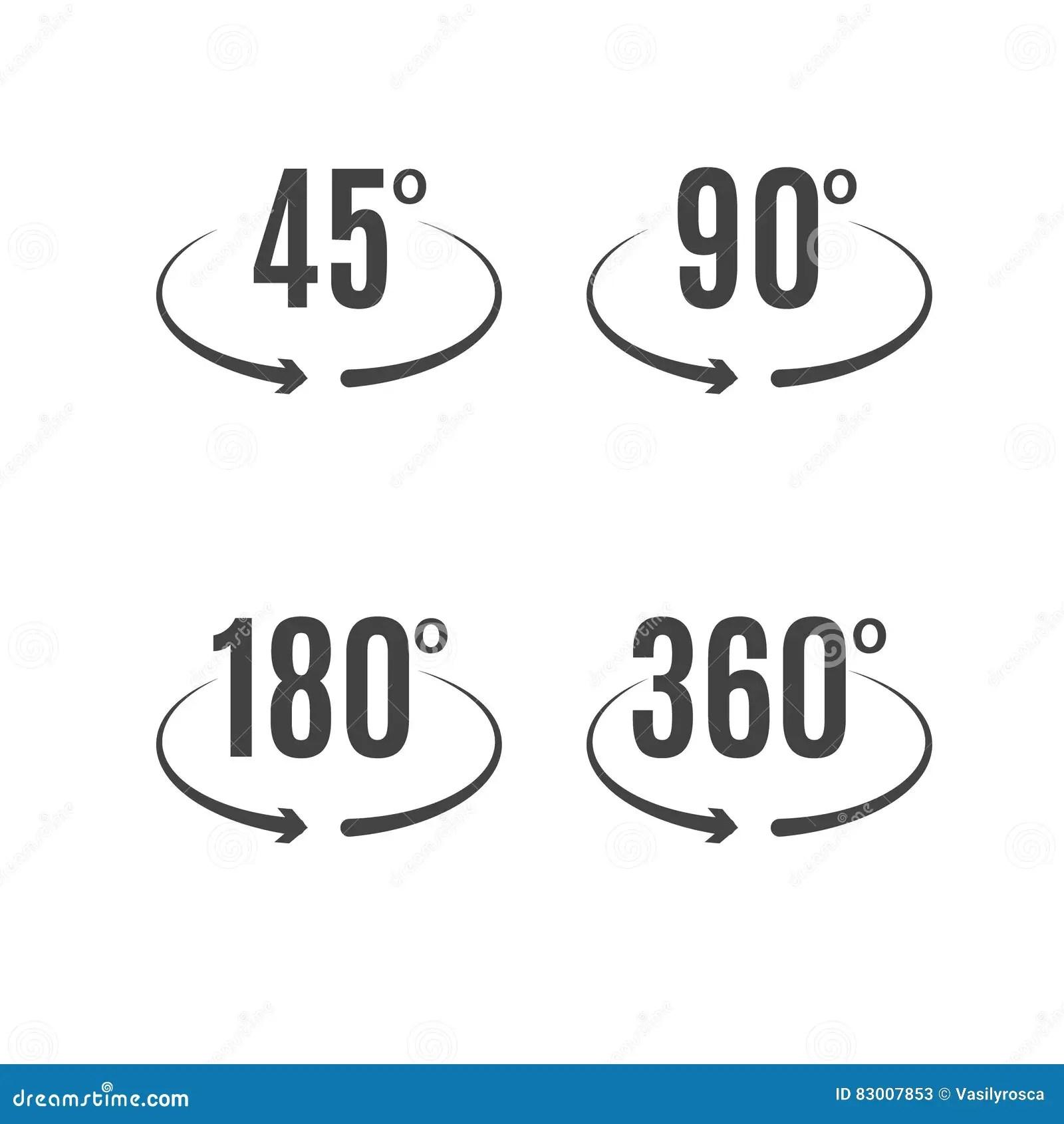 Angle Degrees Icons Vector Design. Arrows Rotation Circle