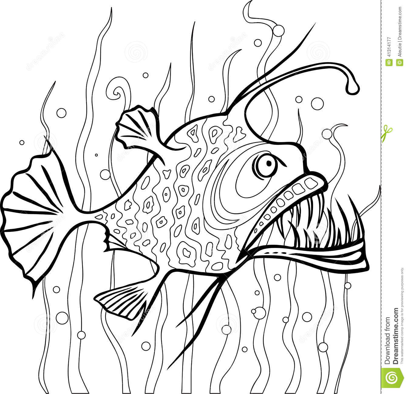 Anglerfish Coloring Page Stock Vector Illustration Of
