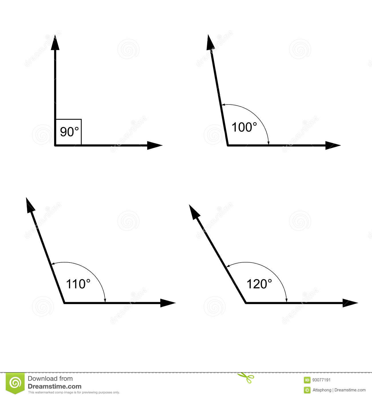 Angles In Degrees Geometry Math Signs Symbols Stock