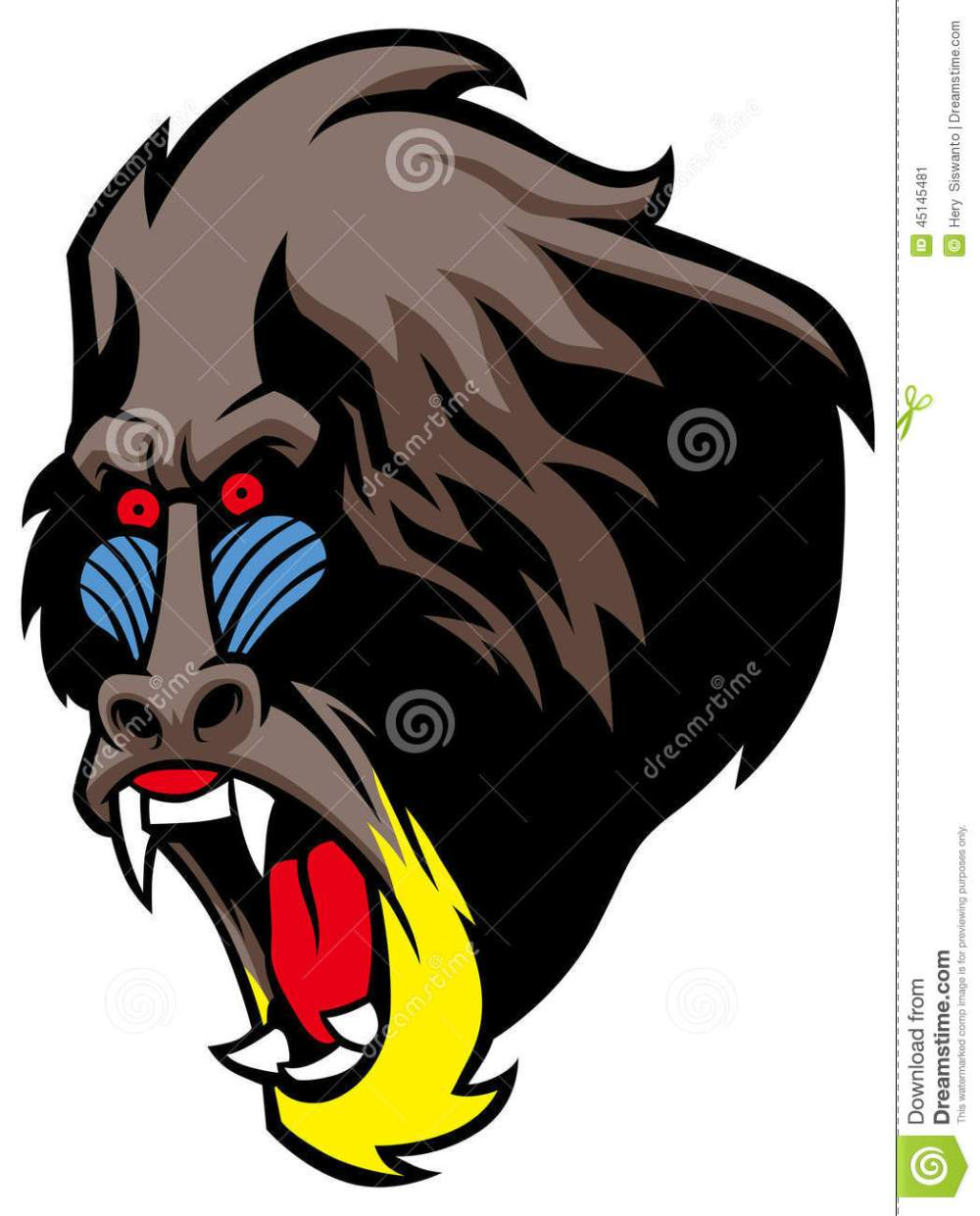medium resolution of angry baboon head