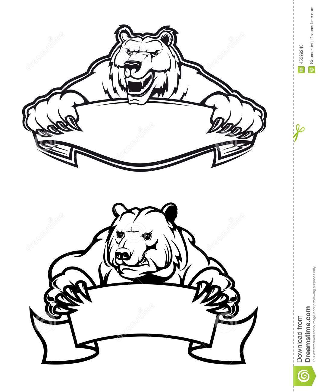 Angry Bears Mascots With Banners Stock Vector