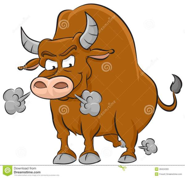 Angry Bull Stock Illustration. Of White Brown - 28424393