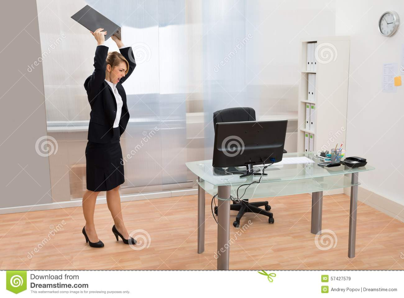 desk chair modern office arm slipcovers angry businesswoman throwing laptop stock photo - image: 57427579