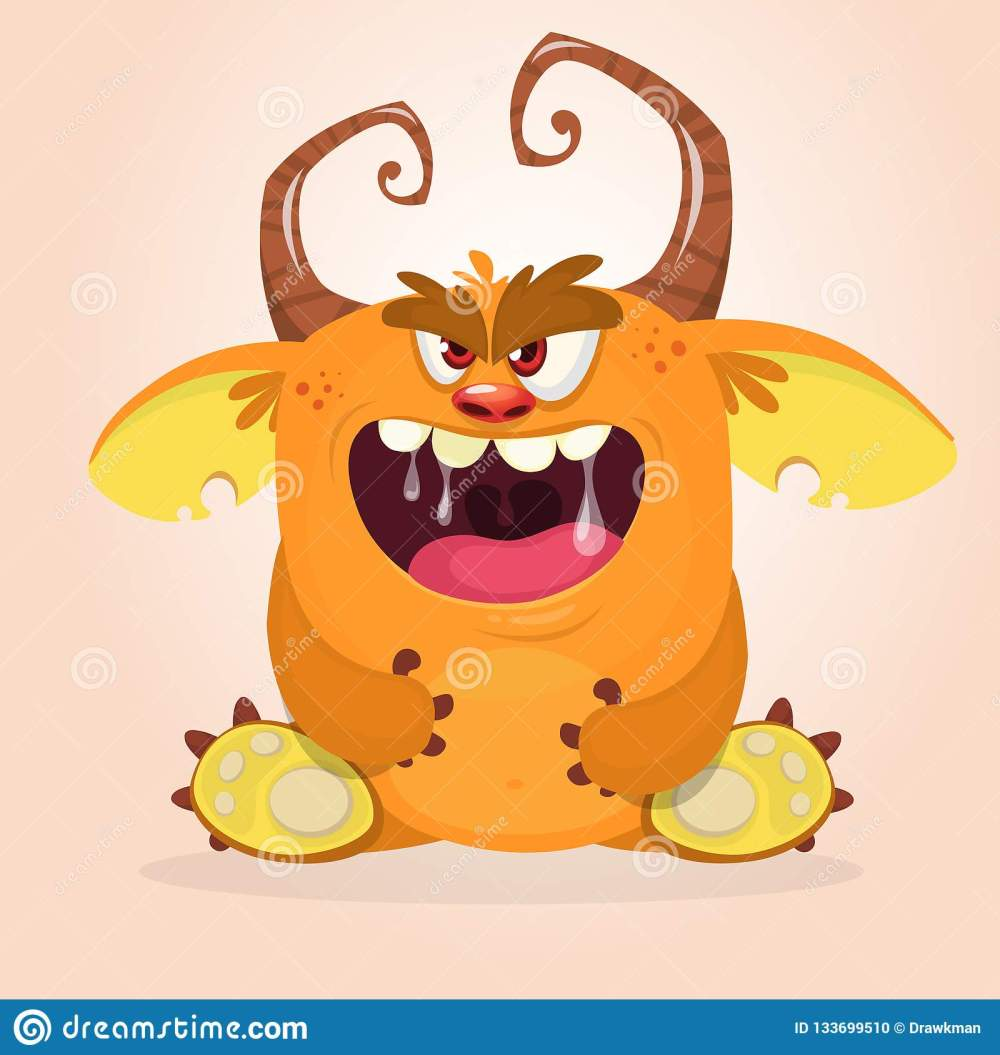 medium resolution of angry cartoon monster sitting halloween vector horned monster clipart illustration