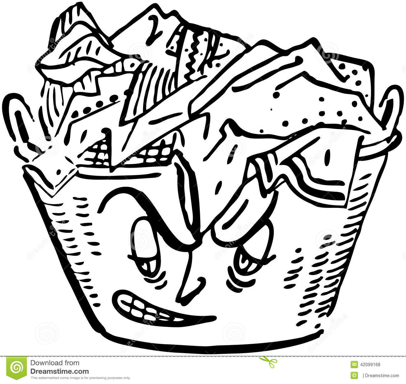 Angry Laundry Basket Stock Vector