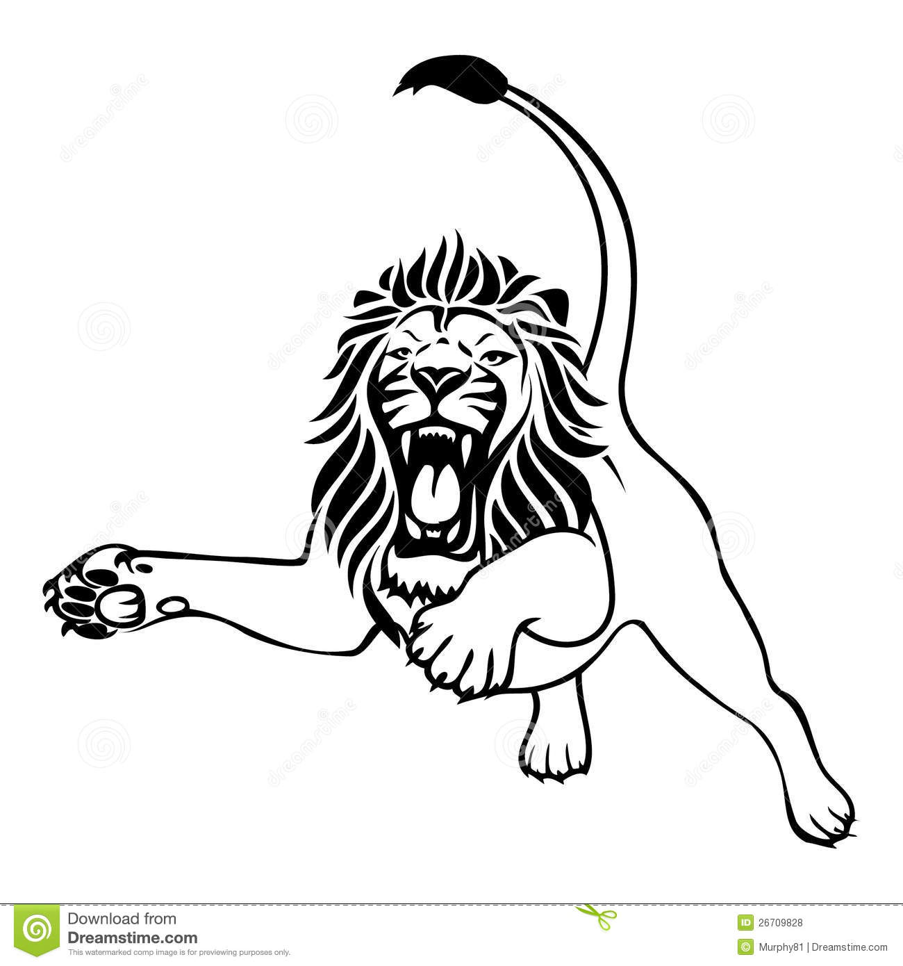 Angry lion attack stock vector. Illustration of mammal