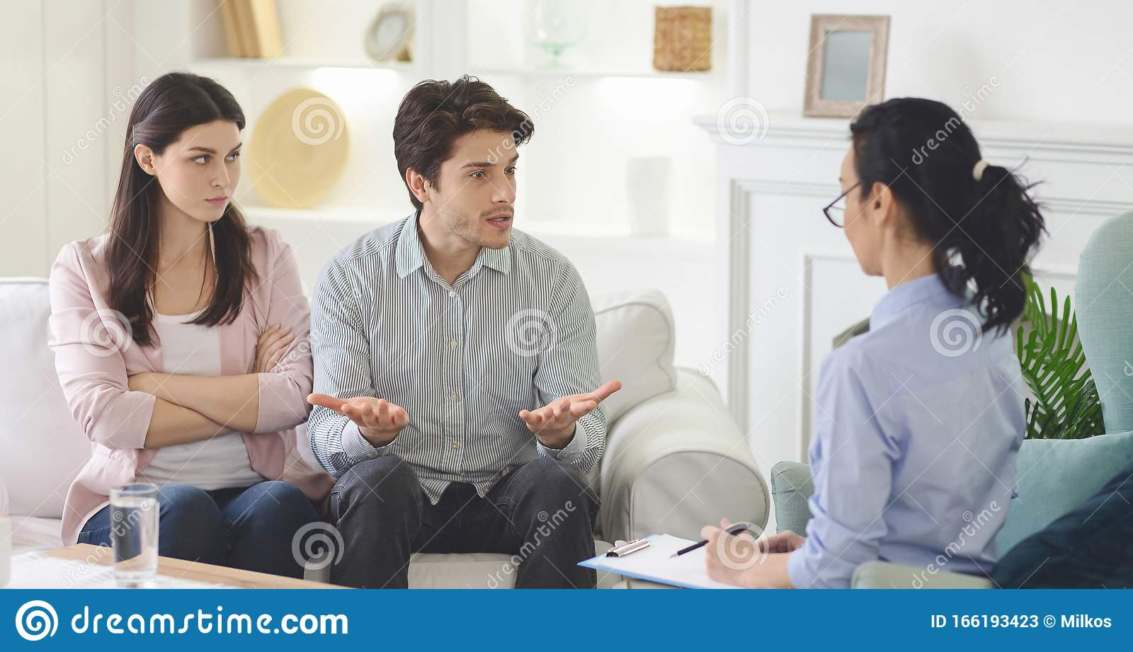 Angry Man Complaining About His Wife At Familly Session