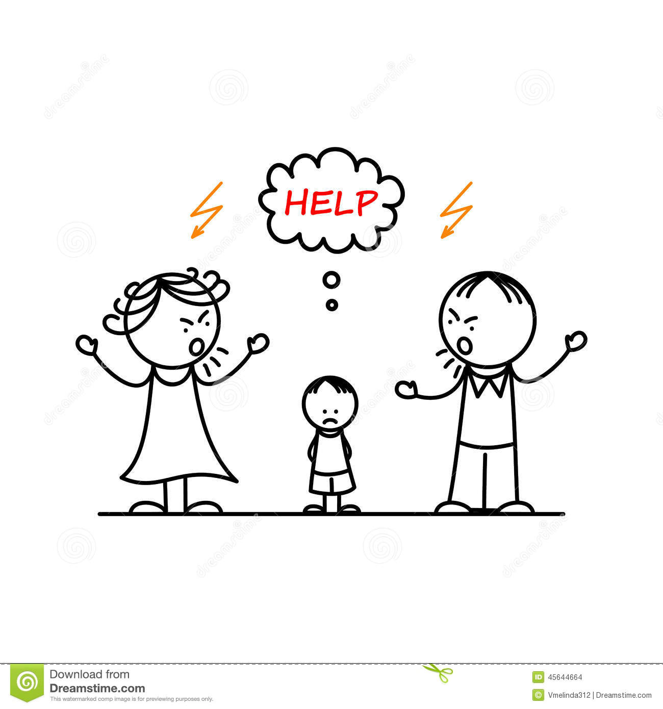 Angry Parents And Sad Boy Stock Vector Illustration Of