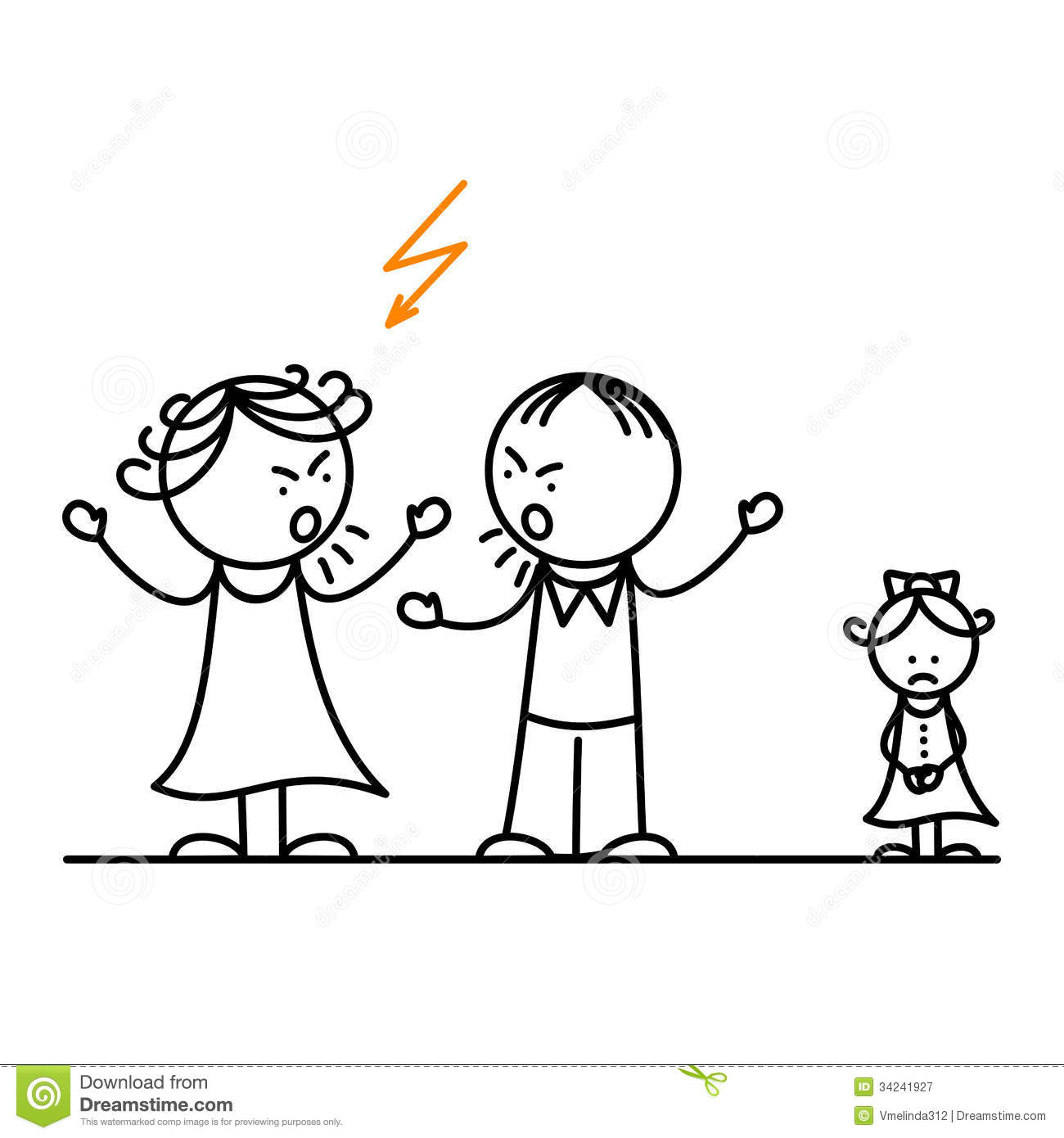 Angry Parents And Sad Girl Royalty Free Stock Photography