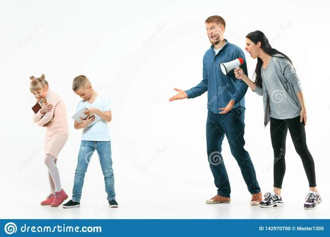 Angry Parents Scolding Their Children At Home Stock Photo - Image of bull,  family: 142970700