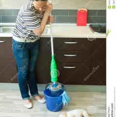 Kitchen Furniture For Small Average Cost Of New Cabinets Angry Woman Squeezing Mop Near Puppy Royalty Free Stock ...