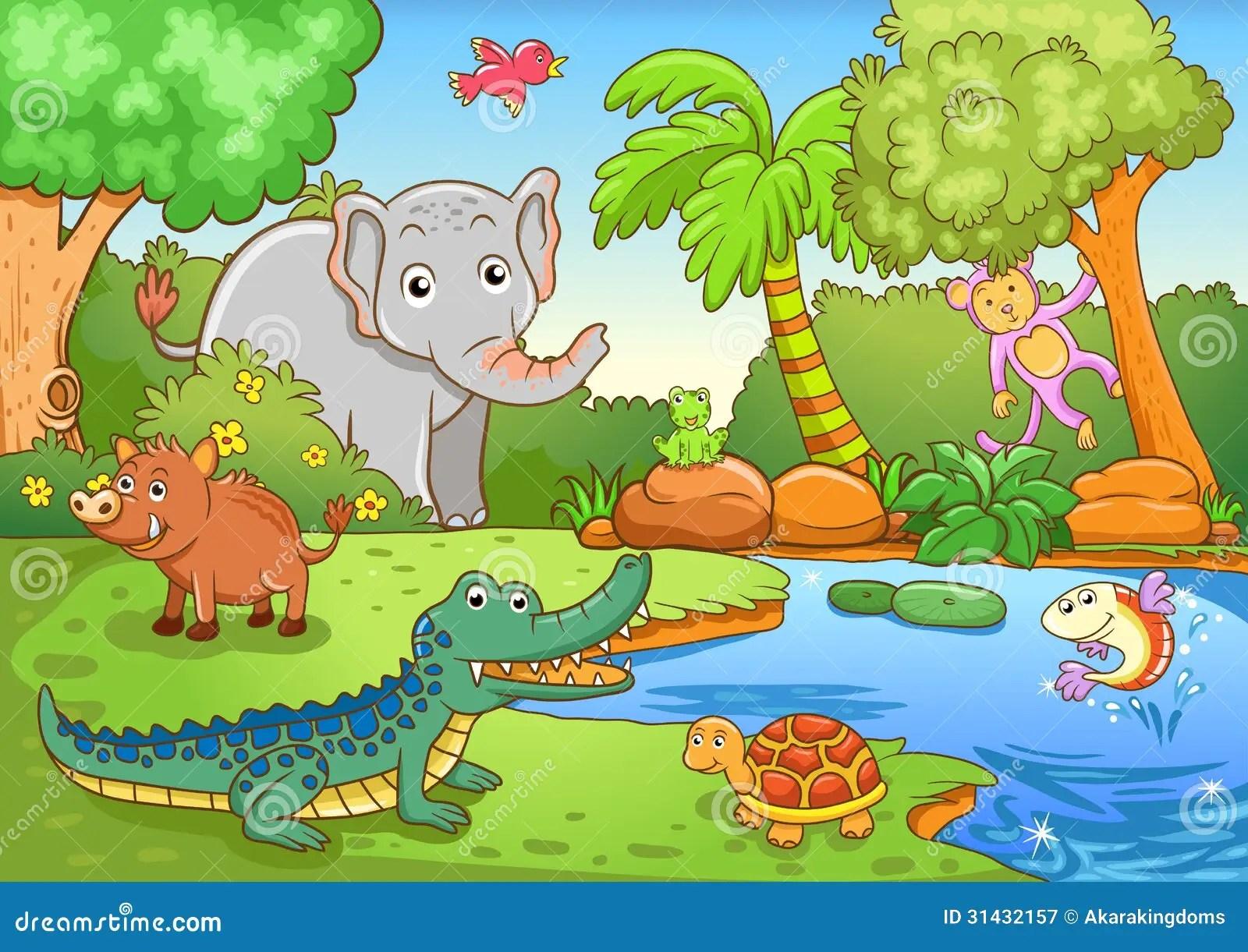 Animais Na Floresta Ilustracao Do Vetor Ilustracao De