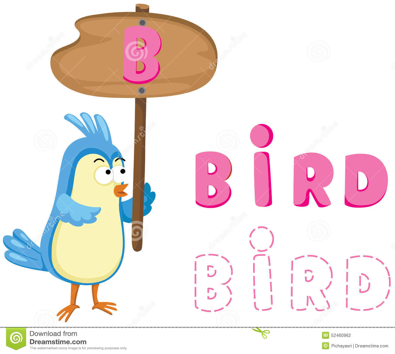 Animal Alphabet B With Bird Stock Vector