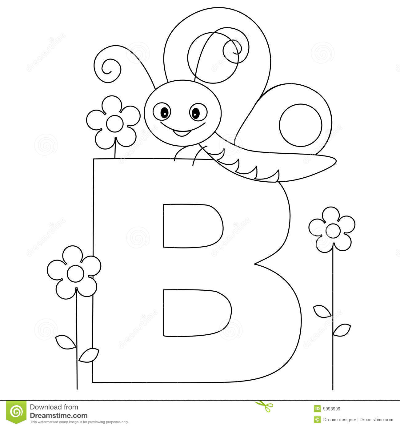 Animal Alphabet B Coloring Page Royalty Free Stock Images