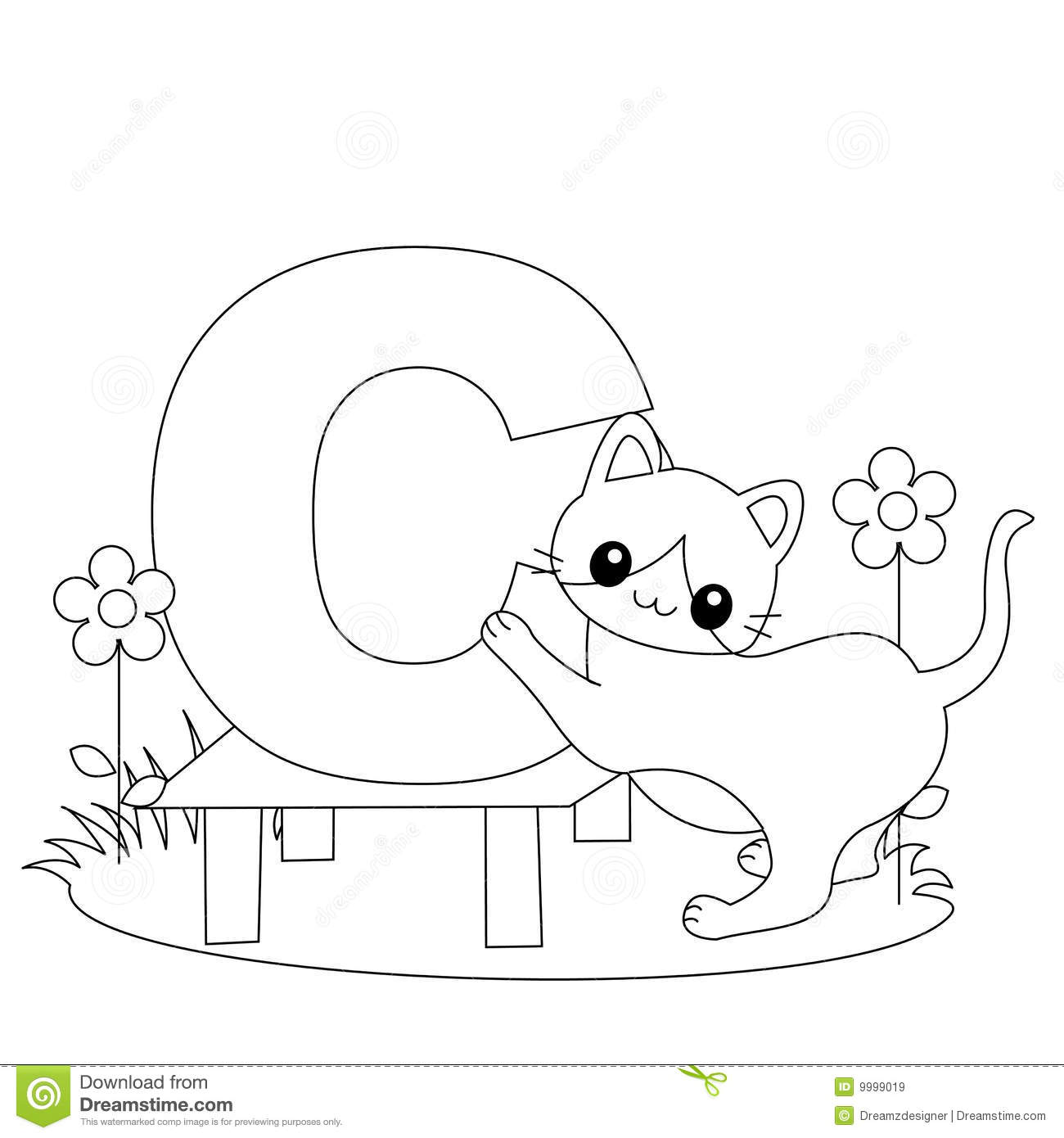 Animal Alphabet C Coloring Page Stock Vector