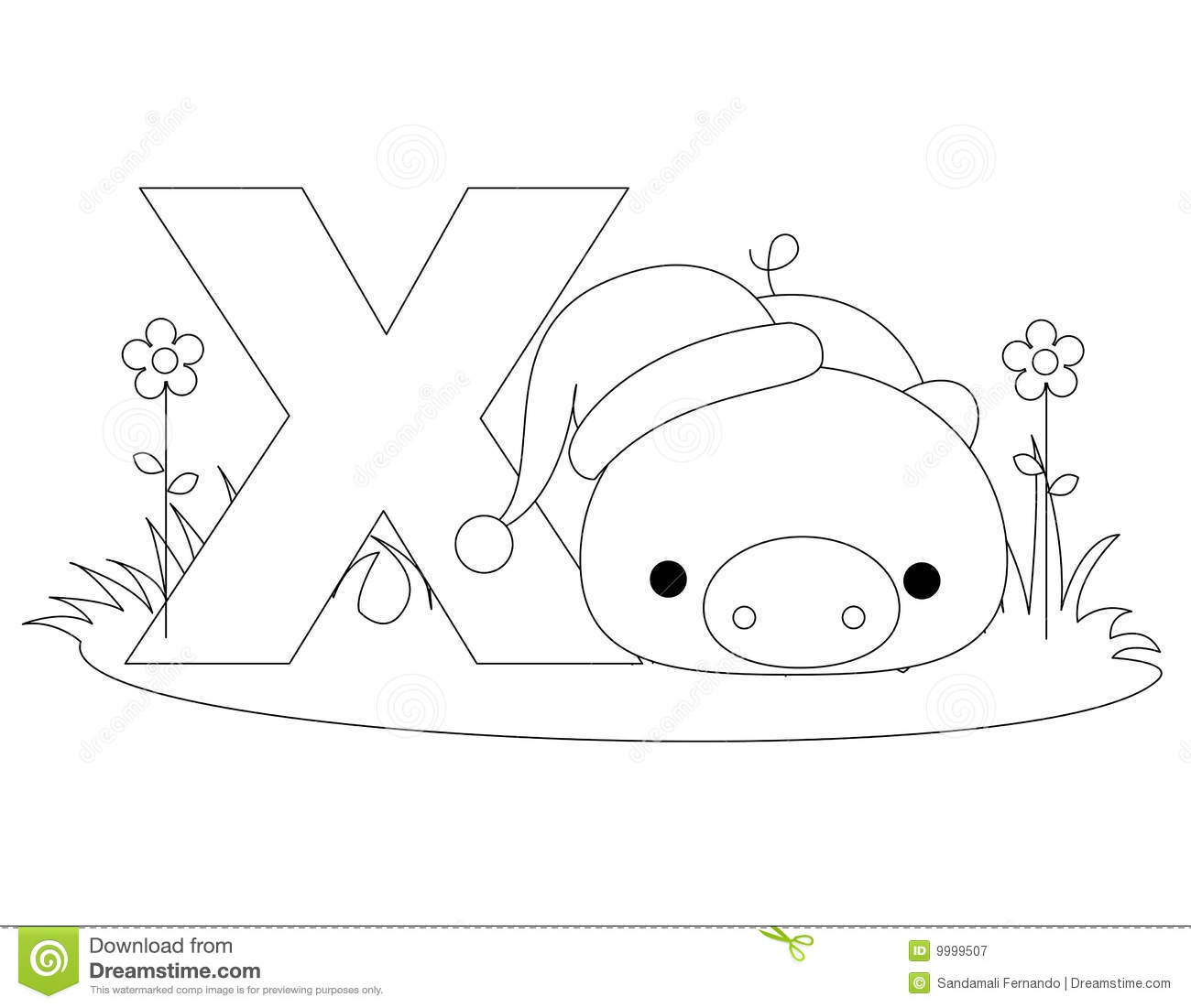 Animal Alphabet X Coloring Page Stock Vector
