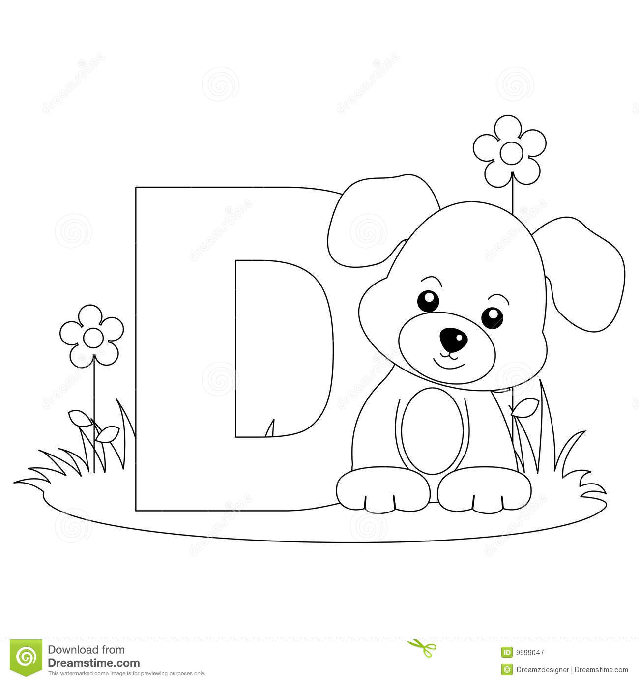 Animal Alphabet D Coloring Page Stock Vector