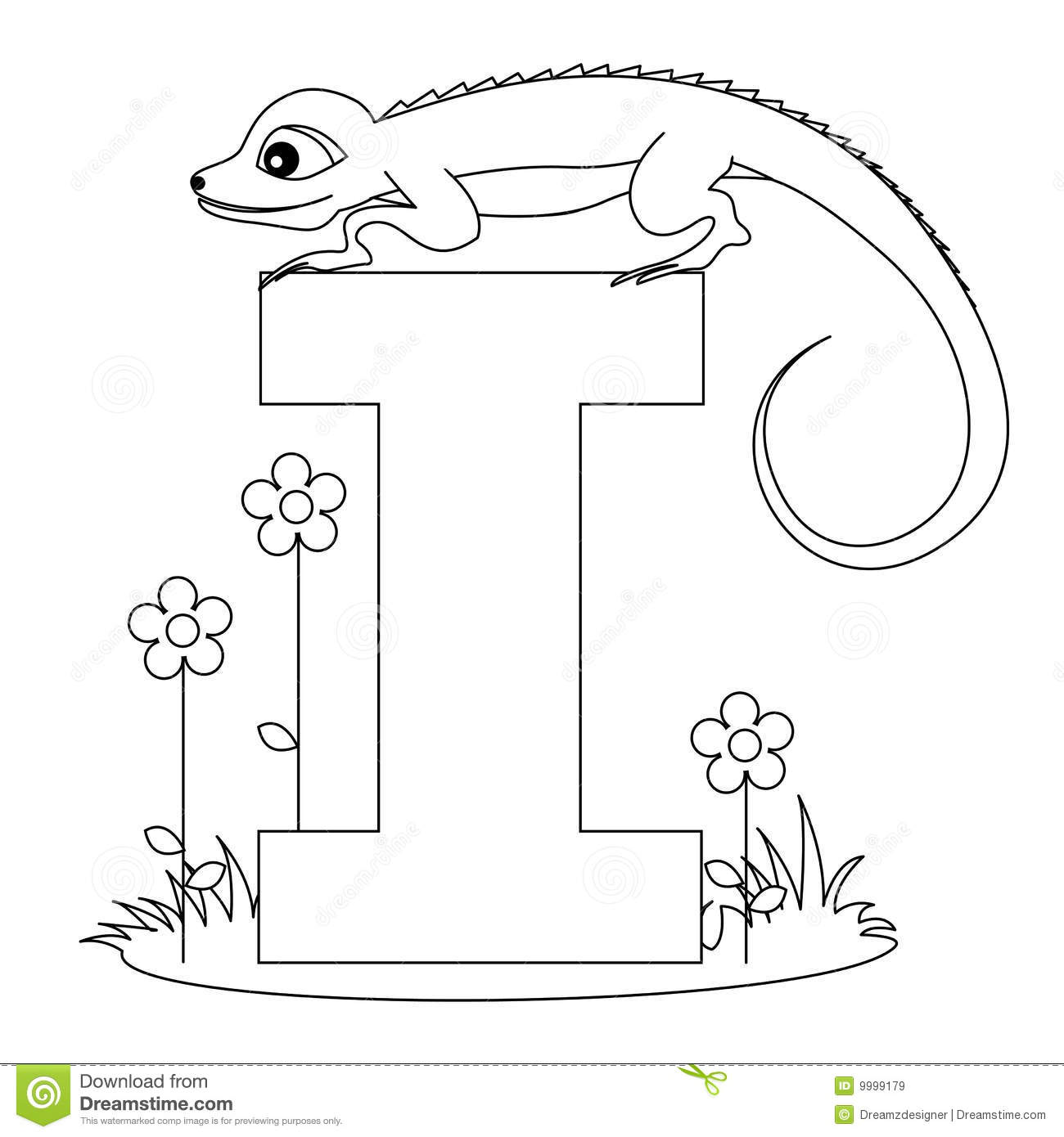 Animal Alphabet I Coloring Page Royalty Free Stock Images