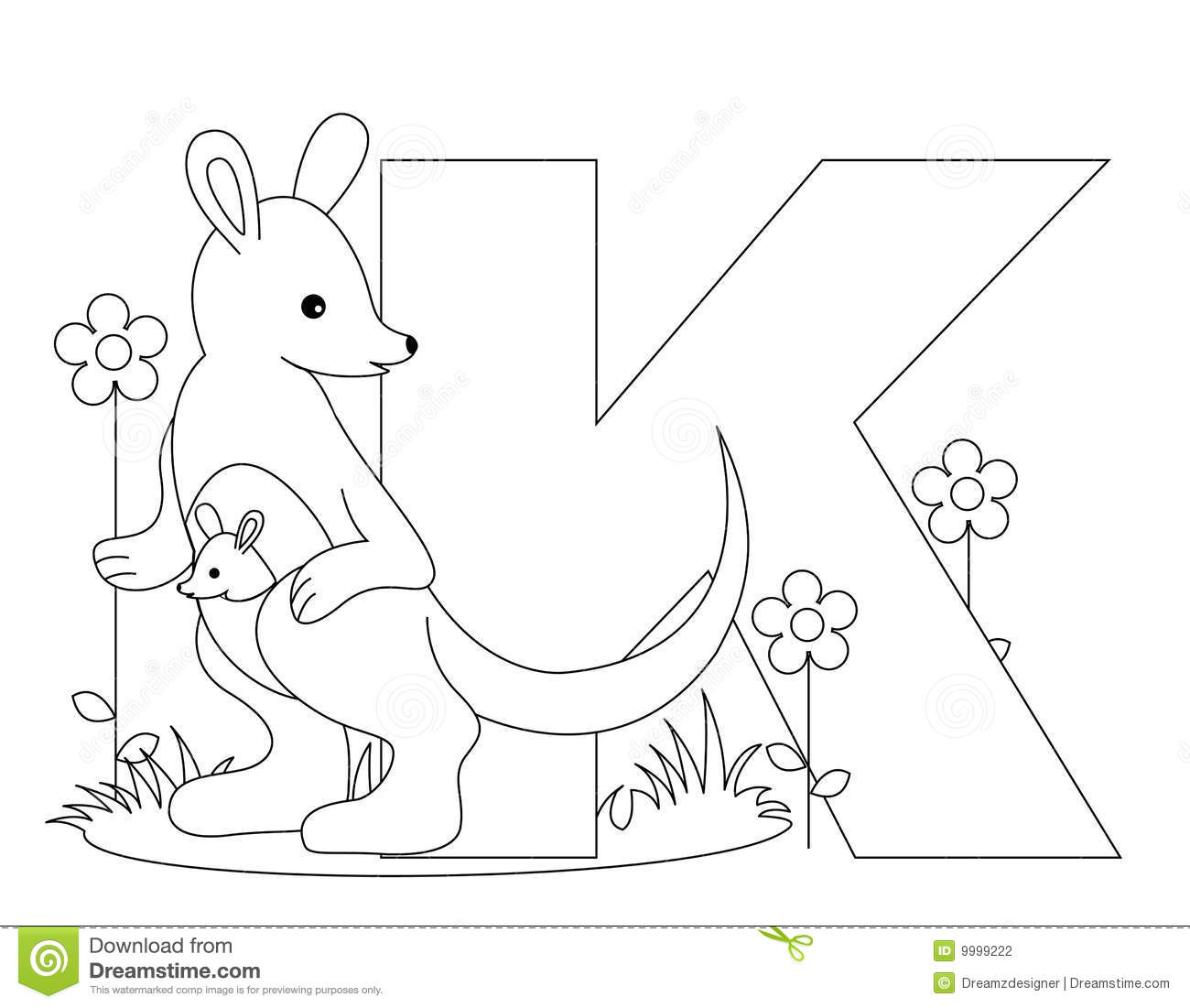 Animal Alphabet K Coloring Page Stock Vector