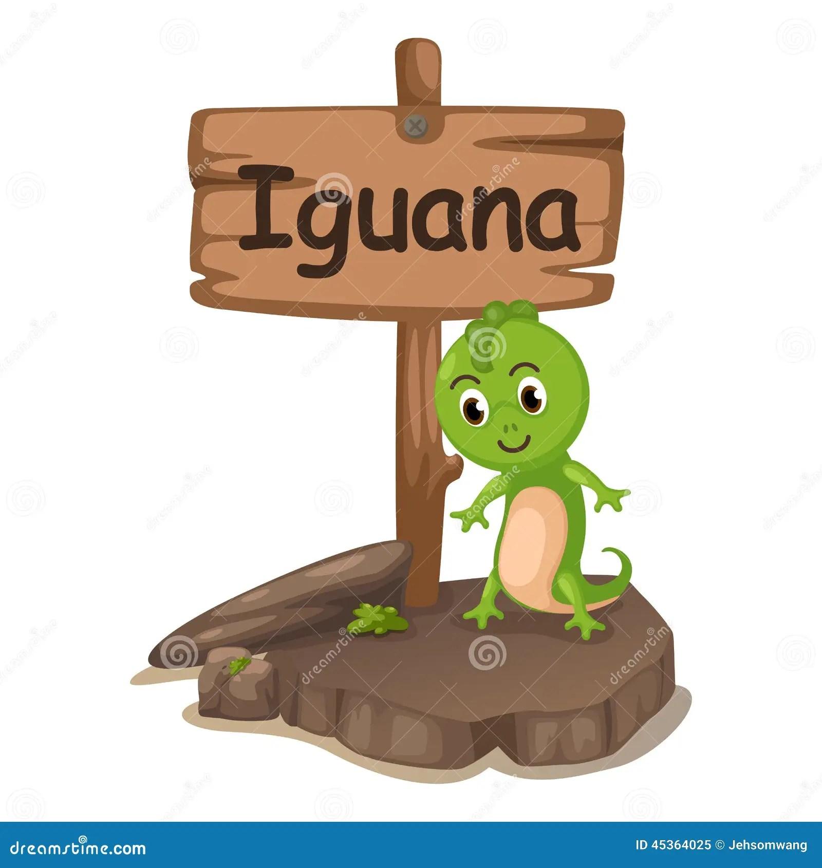Animal Alphabet Letter I For Iguana Stock Vector