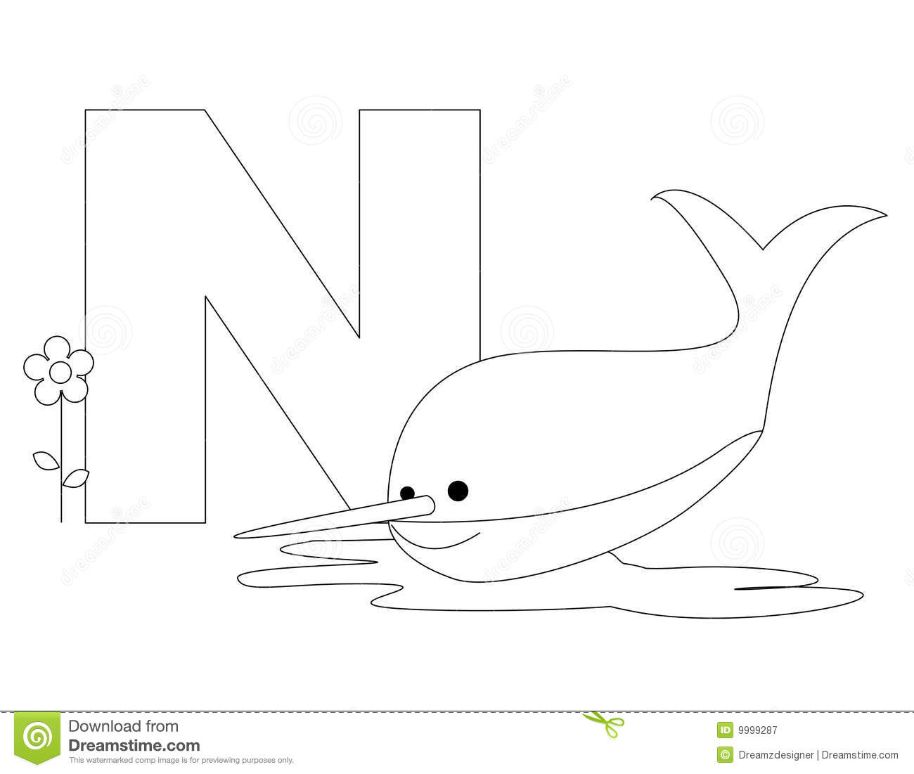 Animal Alphabet N Coloring Page Stock Vector
