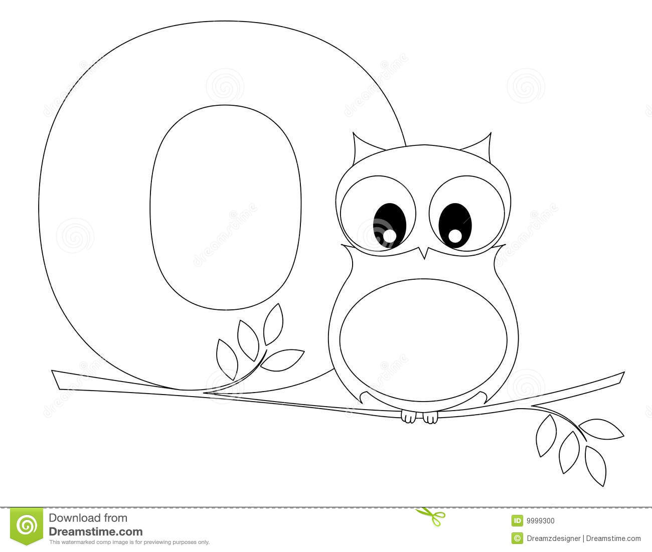 Animal Alphabet O Coloring Page Stock Photo