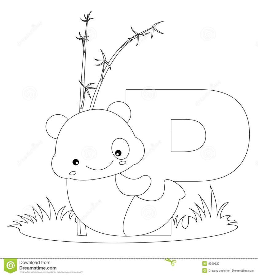 animal alphabet p coloring page stock vector  image 9999327