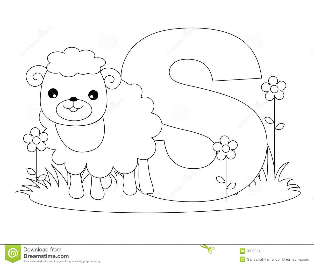 Animal Alphabet S Coloring Page Stock Vector