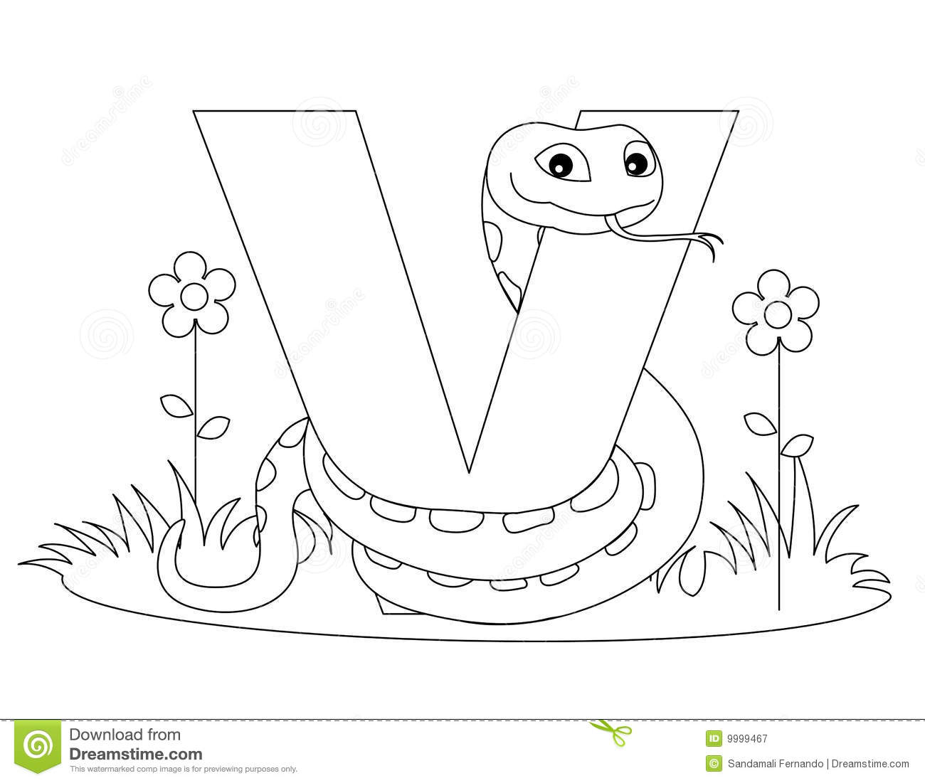 Animal Alphabet V Coloring Page Royalty Free Stock