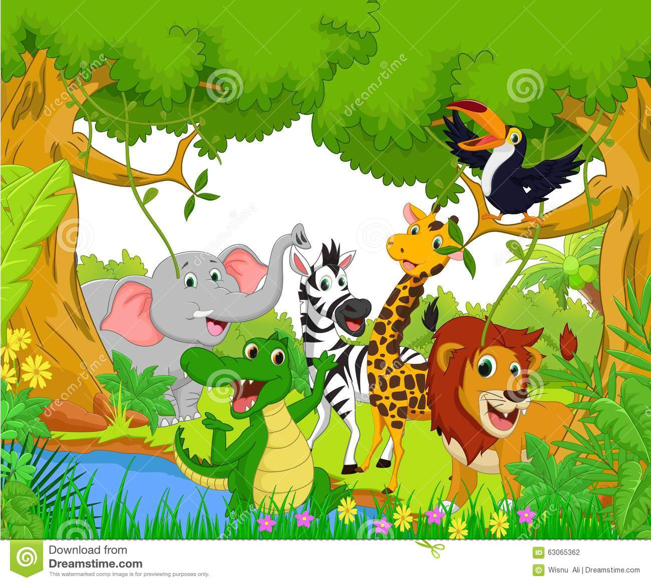 Animal Cartoon In The Jungle Stock Vector