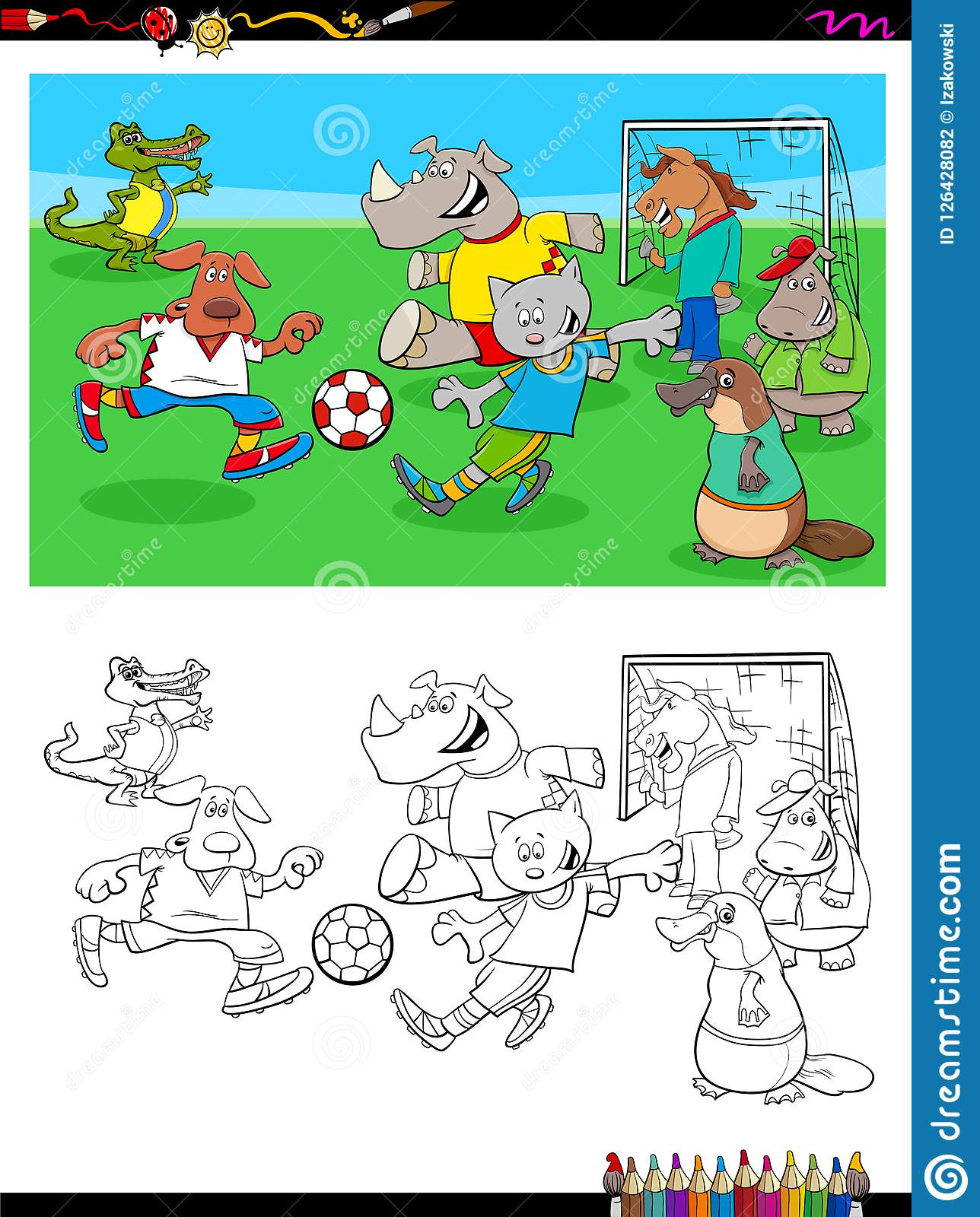 Animal Characters Playing Soccer Coloring Book Stock