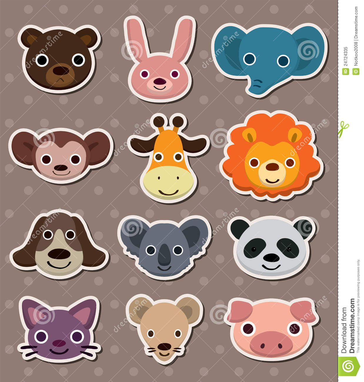 Animal Face Stickers Stock Vector Image Of Cute Elephant