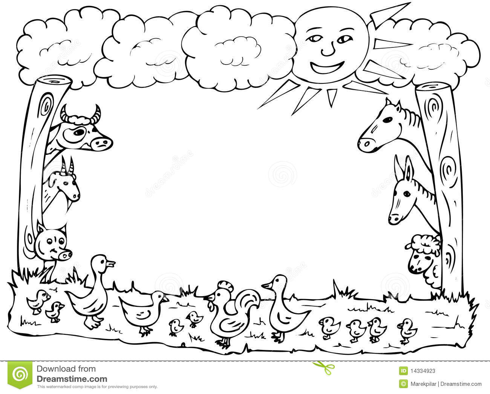 Animal Farm Frame Stock Illustration Illustration Of Duck