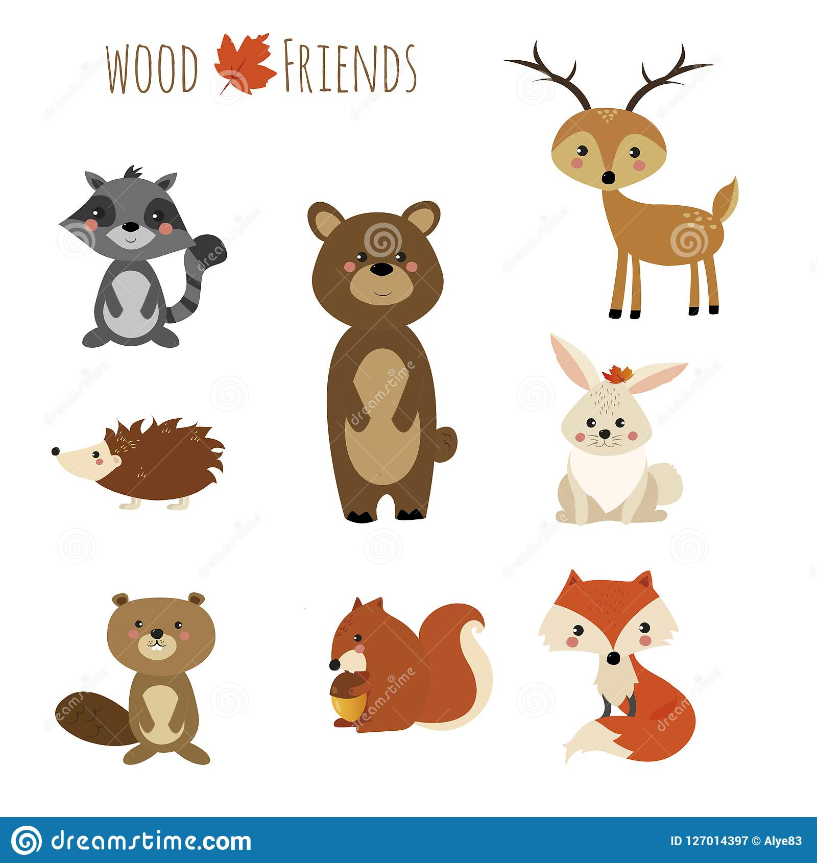 Animal Friends Of The Wood Stock Illustration