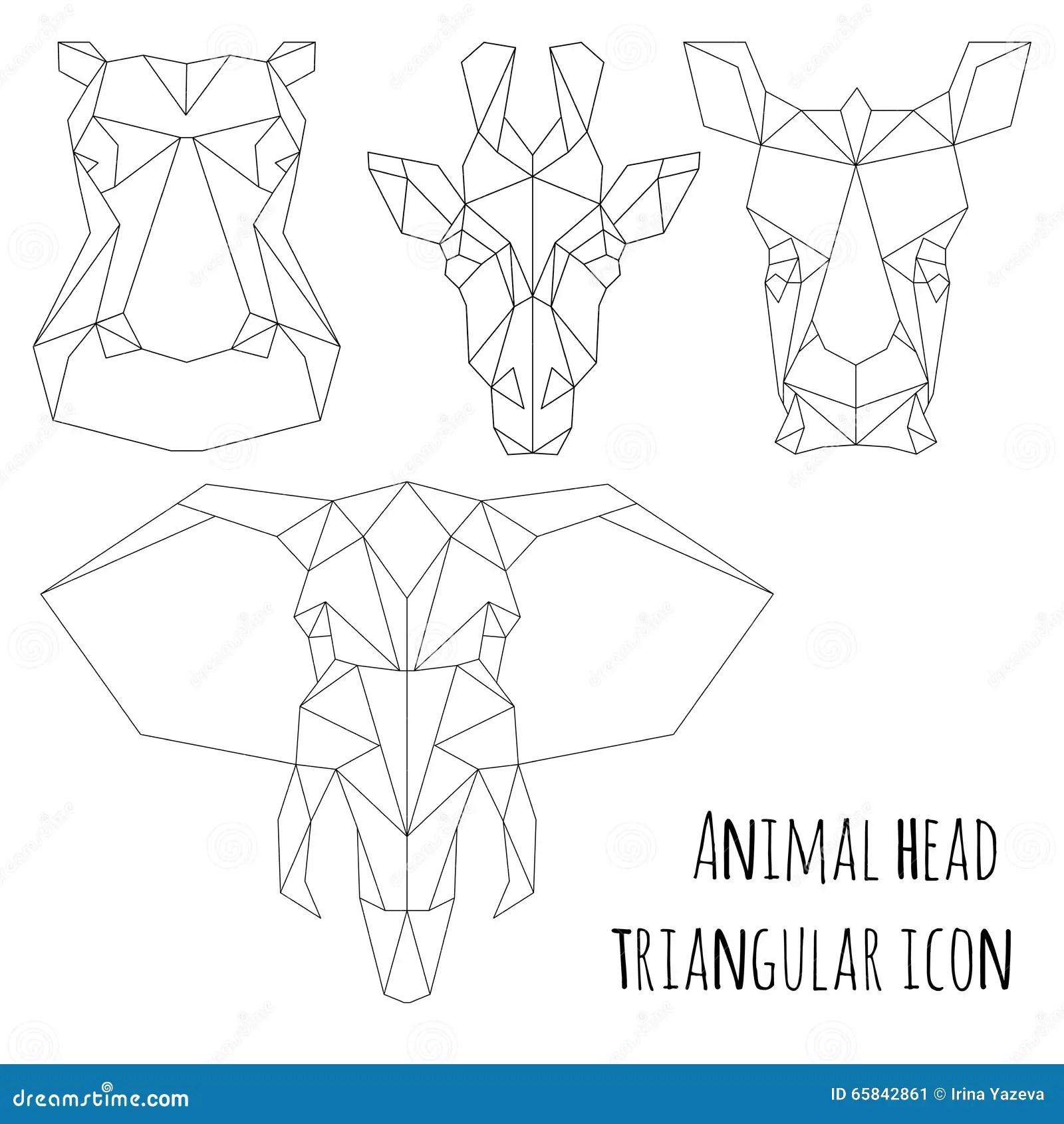 Animal Head Triangular Icon-geometric Line Design Stock