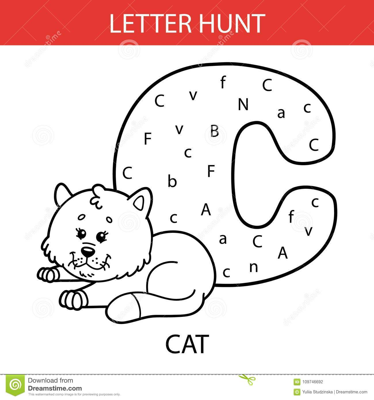 Animal Letter Hunt Cat Stock Vector Illustration Of Animal