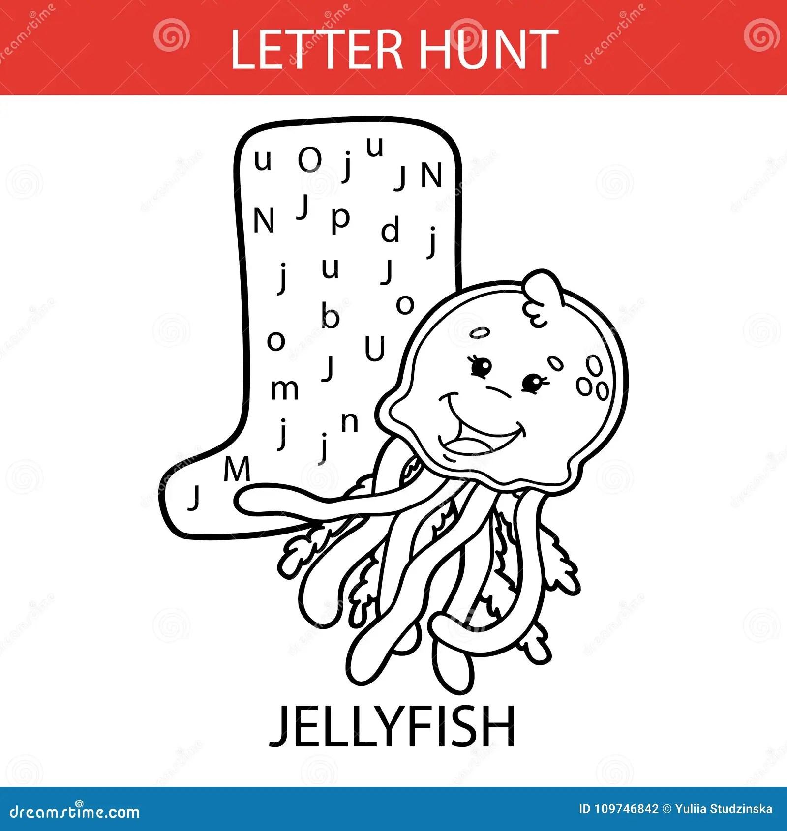 Animal Letter Hunt Jellyfish Stock Vector