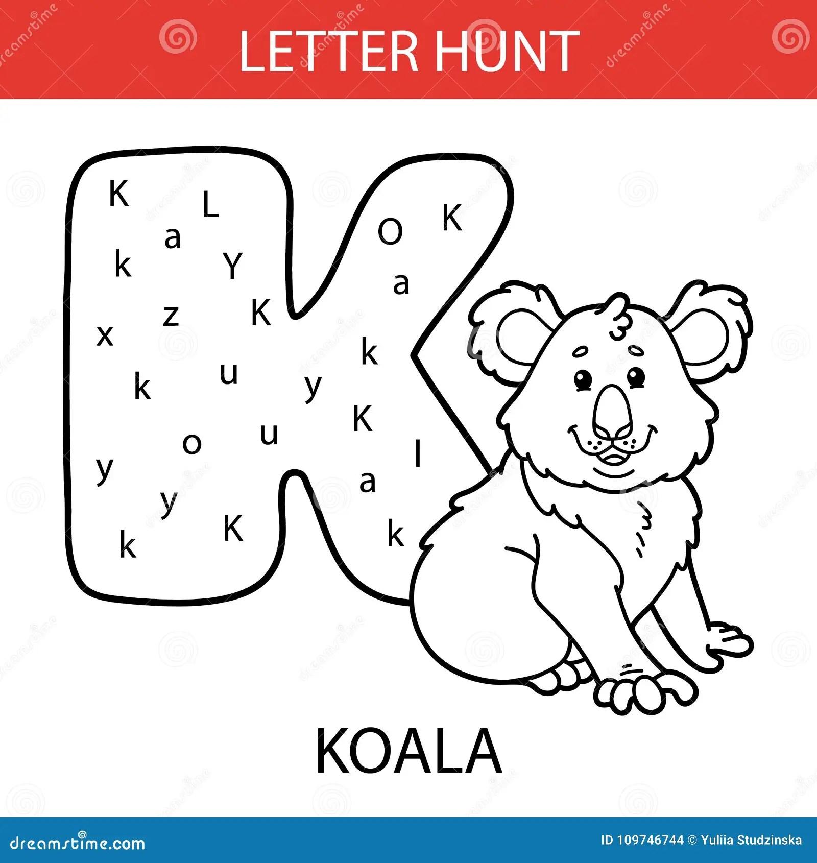 Animal Letter Hunt Koala Stock Vector Illustration Of Childhood