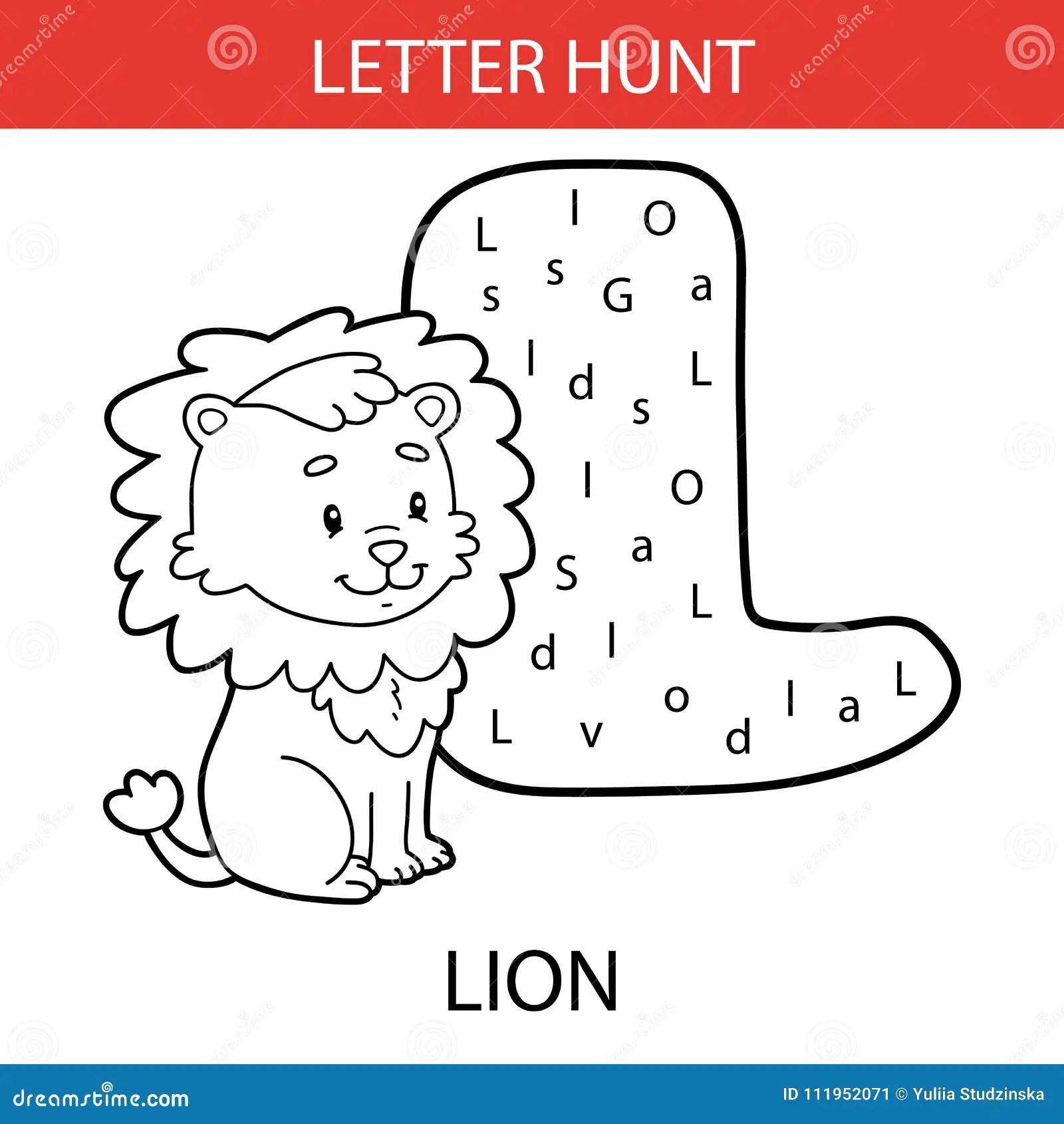 Animal Letter Hunt Lion Stock Vector Illustration Of