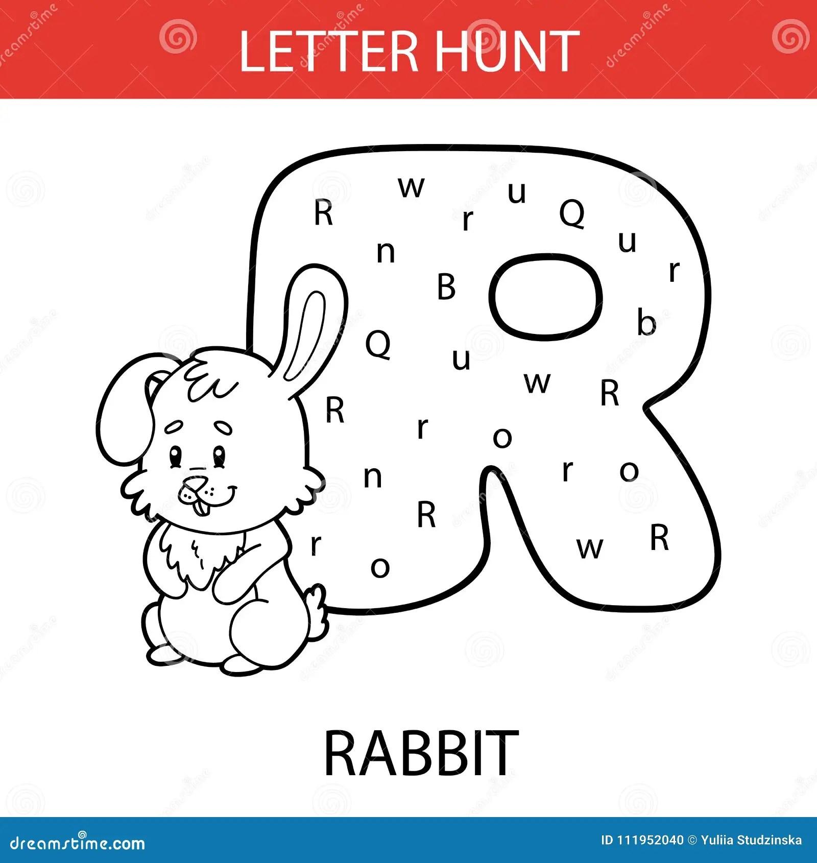 Animal Letter Hunt Rabbit Stock Vector Illustration Of