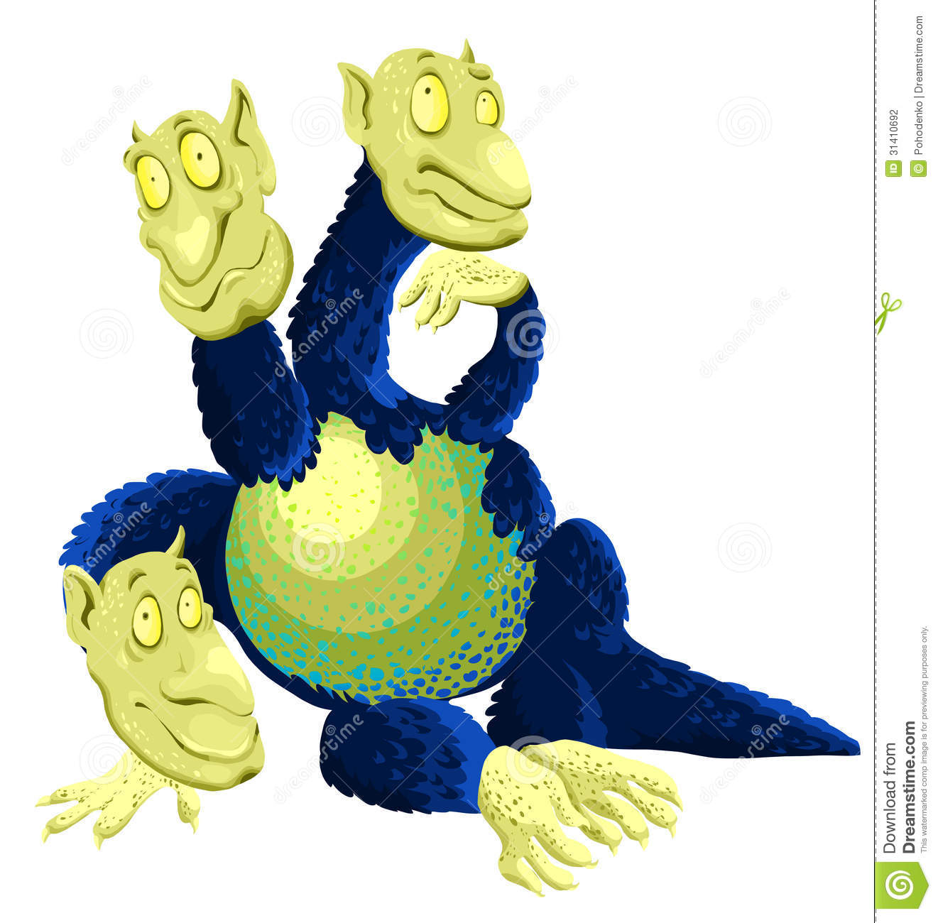 Animal Three Headed Dragon Character Cartoon Style Stock